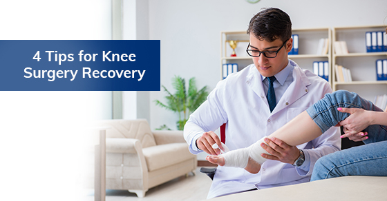 A doctor helping with knee surgery recovery
